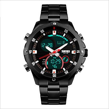 SKMEI Homens Relógio Esportivo Impermeável / LED / Relógio Casual Aço Inoxidável Banda Amuleto Preta / Prata / Dois anos / Maxell CR2016
