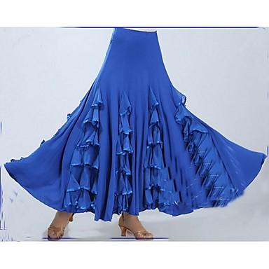 Baile de Salón Pantalones y Faldas Mujer Rendimiento Poliéster / Fibra de Leche Recogido / Volante en Cascada Sin Mangas Cintura Baja Falda