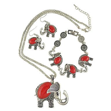 Mujer Moda estilo de Bohemia eingeritzt Europeo Estilo popular joyería de disfraz Turquesa Forma de Flor Forma de Animal Elefante