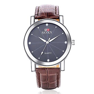 Hombre Reloj Deportivo Reloj Casual / Cool Piel Banda Moda Negro / Marrón / Acero Inoxidable / SSUO 377