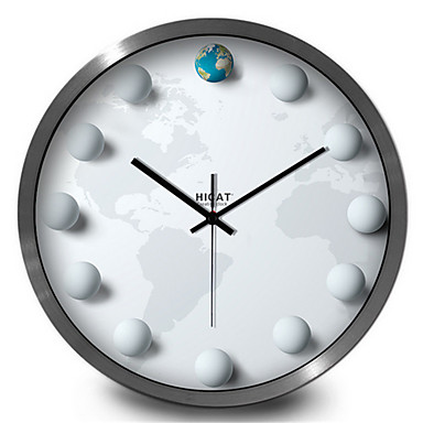 Moderne/Contemporain Autres Horloge murale,Rond Métal 30*30*7 Intérieur/Extérieur Horloge