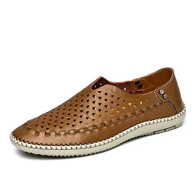 Homens sapatos Couro Verão Conforto Mocassins e Slip-Ons Caminhada Marron / Azul / Khaki