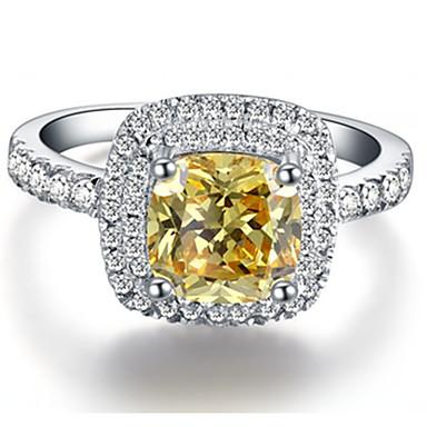 Feminino Anéis Grossos Luxo Fashion Prata de Lei Strass Jóias Casamento