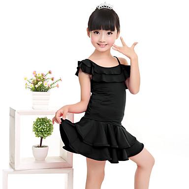 Latein-Tanz Austattungen Kinder Leistung Milchfieber Rüschen Kurze Ärmel Normal Top Rock