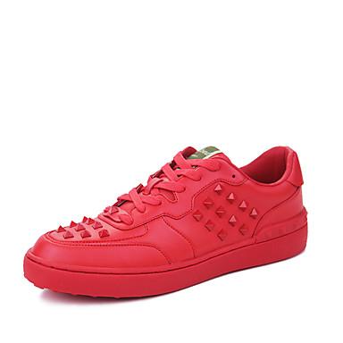Herre-Kunstlær-Flat hæl-Komfort-Flate sko-Friluft Fritid Sport-Svart Rød Hvit
