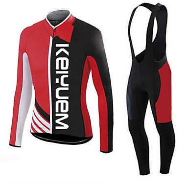 KEIYUEM Langarm Fahrradtrikot mit Trägerhosen Fahhrad Kleidungs-Sets, warm halten, Rasche Trocknung, Atmungsaktiv, Schweißableitend, 3D