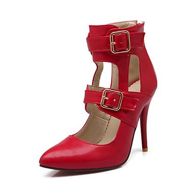 Damen Schuhe Lackleder Sommer Herbst Komfort High Heels Stöckelabsatz Schnalle für Normal Büro & Karriere Schwarz Rot Mandelfarben