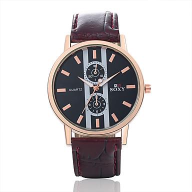 Masculino Relógio de Moda Quartzo Relógio Casual Couro Banda Pendente Preta Marrom Preto Marron