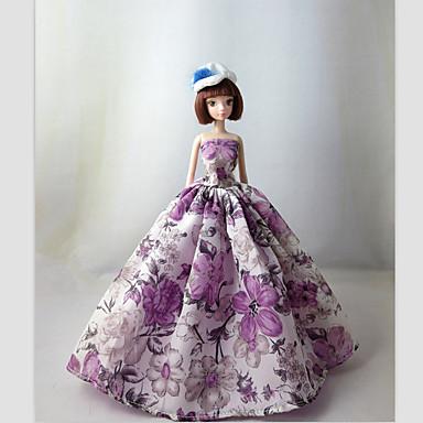 Princesa Vestidos Para Barbie Doll roxo claro Vestidos Para Menina de boneca Toy
