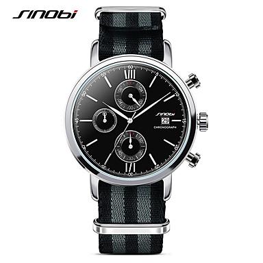 SINOBI Homens Relógio Esportivo Quartzo Calendário Cronógrafo Impermeável Cronômetro Com Timer Tecido Banda Amuleto Preta Branco