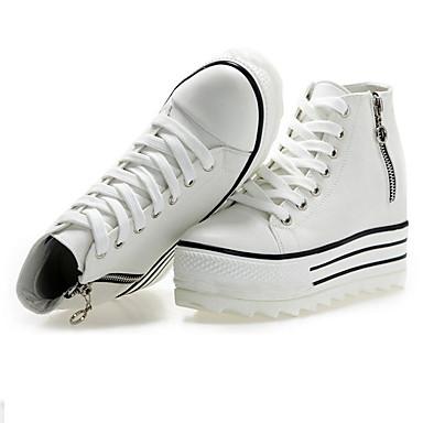 Γυναικεία Παπούτσια Ύφασμα Άνοιξη Καλοκαίρι Φθινόπωρο Ανατομικό Τακούνι Σφήνα Κορδόνια Φερμουάρ για Causal ΕΞΩΤΕΡΙΚΟΥ ΧΩΡΟΥ Λευκό Μαύρο