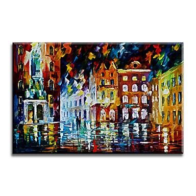 Håndmalte Abstrakt Vannrett,Klassisk Europeisk Stil Moderne Tradisjonell Realisme Middelhavet Parfymert Lerret Hang malte oljemaleri Hjem