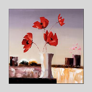 Håndmalte Blomstret/Botanisk Middelhavet / Parfymert / Europeisk Stil / Moderne / Klassisk / Tradisjonell / Realisme,Et Panel LerretHang