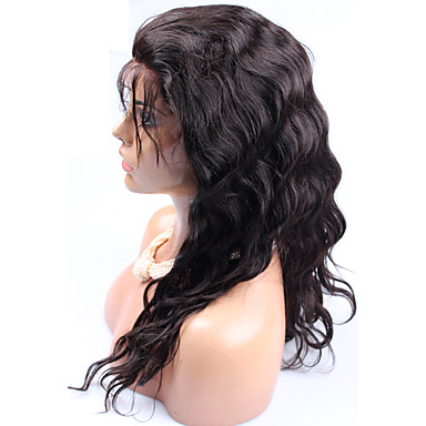 Human Hair Lace Wig Body Wave Full Lace Glueless Full Lace 100% Hand Tied African American Wig Natural Hairline Density Dark Black Medium