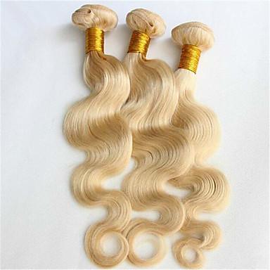 baratos Extensões de Cabelo Natural-3 pacotes Cabelo Brasileiro Onda de Corpo 8A Cabelo Humano Ondulado Tramas de cabelo humano Extensões de cabelo humano