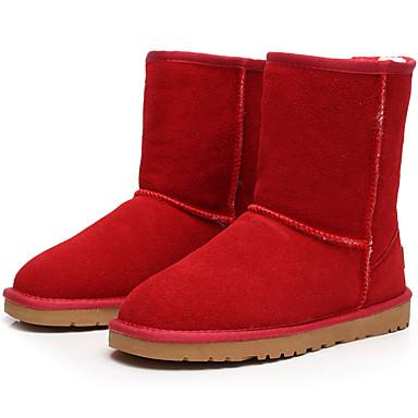 Mulheres Sapatos Camurça Inverno Botas da Moda Botas de Neve Botas Sem Salto Botas Cano Médio para Casual Ao ar livre Bege Amarelo Marron
