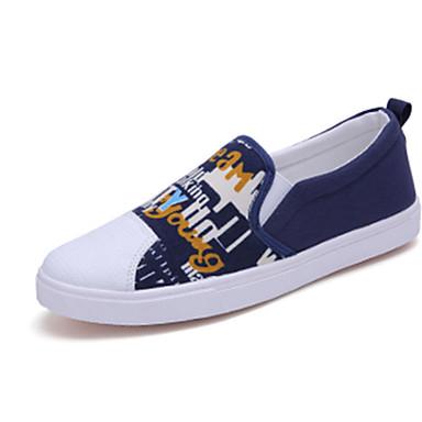 Herren-Sneaker Flache Schuhe-Lässig-Leinwand-Flacher Absatz-Komfort-Schwarz Blau