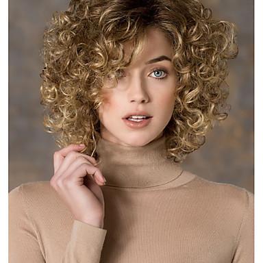 Syntetiska peruker Dam Lockigt Blond Sidodel Syntetiskt hår Mode Blond Peruk Korta Utan lock Blond StrongBeauty