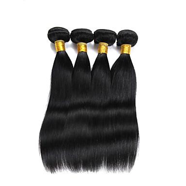 שיער אנושי שיער הודי טווה שיער אדם ישר תוספות שיער 4 חלקים צבע טבעי