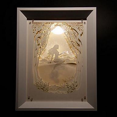 oss plugge ledet kreativ papir carving 3d dekorative jule nattlys havfrue