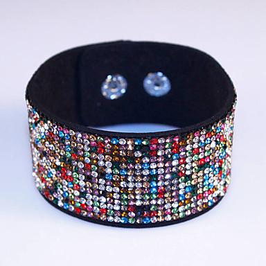 נשים צמידי גלישה צמידי עור עור אבן נוצצת חיקוי יהלום סגסוגת אופנתי סגנון בוהמיה מקסים Geometric Shapeחום כחול אדום כהה LED 7 צבעים חום
