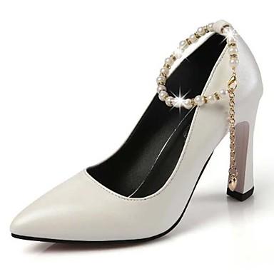 Femme Chaussures à Talons Similicuir Printemps Eté Automne Décontracté Soirée & Evénement Imitation Perle Gros Talon Blanc Noir Rose7,5 à