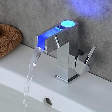 Contemporain Set de centre LED with  Soupape céramique Mitigeur un trou for  Chrome , Robinet lavabo