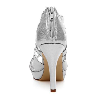 Femme Eté Talon Evénement Mariage Soirée 05057240 amp; Argent Polyuréthane Paillette Printemps Aiguille Brillante Chaussures twr4wp