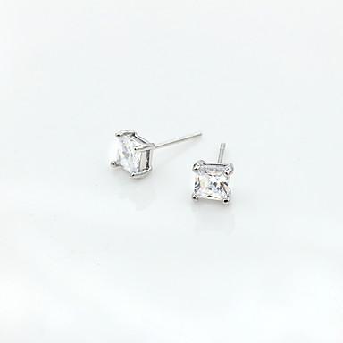 Női Kocka cirkónia Cirkonium Beszúrós fülbevalók - Személyre szabott / Divat Ezüst Négyzet Fülbevaló Kompatibilitás Napi / Hétköznapi