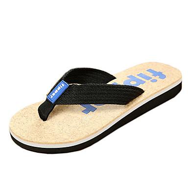 Herren-Slippers & Flip-Flops-Lässig-Leinwand-Flacher Absatz-Pantoffeln-Blau / Braun