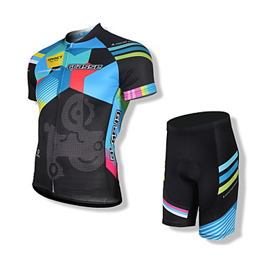 SPAKCT בגדי ריקוד גברים שרוולים קצרים חולצת ג'רסי ומכנס קצר לרכיבה - שחור אופניים מכנסיים קצרים ג'רזי מדים בסטים, 3D לוח, ייבוש מהיר,