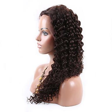 Ekte hår Lace Parykk Krøllet U-del 100 % håndknyttet Afroamerikansk parykk Naturlig hårlinje 130% tetthet Jet Svart Svart Mørkebrun