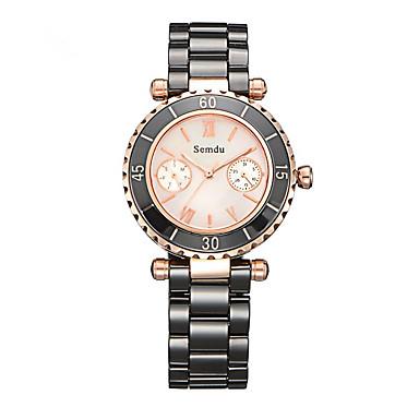 Mulheres Relógio de Moda Quartz Noctilucente Cerâmica Banda Preta / Branco marca