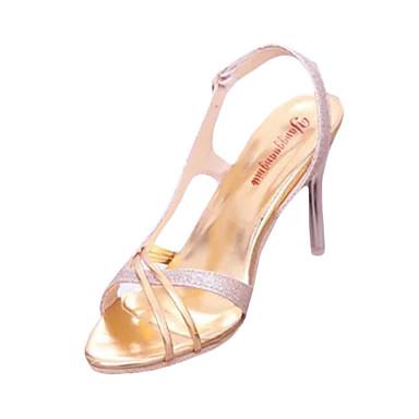 Damen-Sandalen-Lässig-PU-Stöckelabsatz-Vorne offener Schuh-Silber