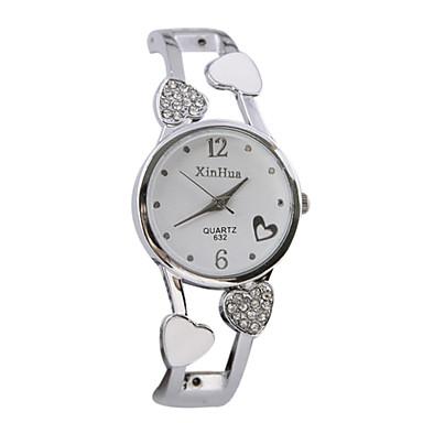 בגדי ריקוד נשים שעוני אופנה קווארץ שעונים יום יומיים סגסוגת להקה Heart Shape צמיד כסף