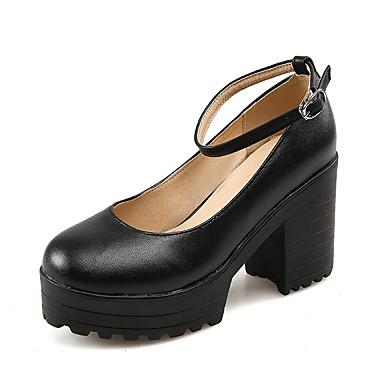 Sko-Kunstlær-Tykk hæl-Hæler / Rund tå-høye hæler-Formell-Svart / Hvit