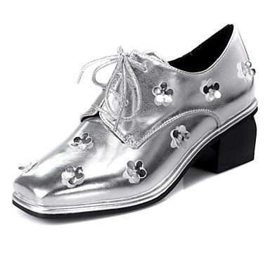 kvinners sko pu fall firkantet tå oxfords kontor&karriere / kjole / uformell chunky hæl blomst sølv / gull
