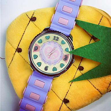 Damen Modeuhr Quartz Armbanduhren für den Alltag Silikon Band Süßigkeit Weiß Rot Rosa Lila