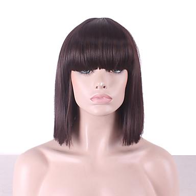 Pelucas sintéticas / Pelucas de Broma Recto / Yaki Corte Bob / Con flequillo Pelo sintético Entradas Naturales Marrón Oscuro Peluca Mujer Longitud Media Sin Tapa