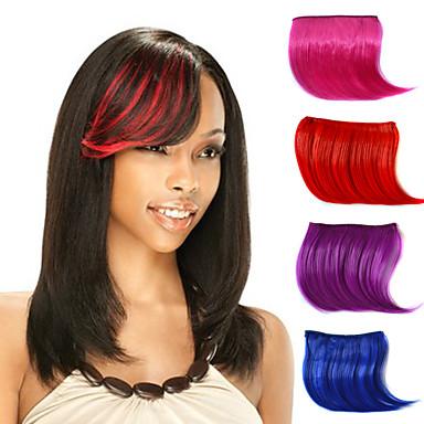 Rosa Roxo Vermelho Rosa claro Violeta Vermelho Vinho Reto Franja 0.2kg Cabelo Sintético Pedaço de cabelo Alongamento Reto