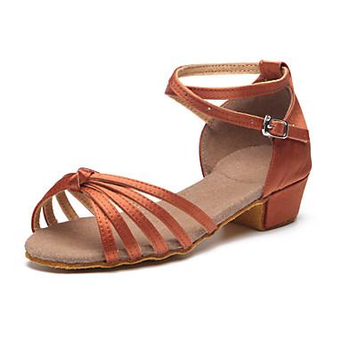 Chaussures de danse(Noir / Bleu / Marron / Jaune) -Personnalisables-Talon Plat-Satin-Latine