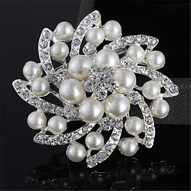 Art und Weise Silber-Legierung Blumenform Perle Broschen für Hochzeit