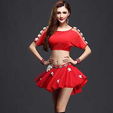 Danse du ventre Tenue Femme Spectacle Spandex Tulle Manche courte Taille moyenne Haut Jupe Short
