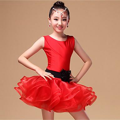 Latein-Tanz Kleider Kinder Vorstellung Nylon Organza Schärpe /Band 3 Stück Ärmellos Normal Kleid Gürtel Unterhose