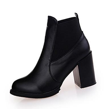 Damen-Stiefel-Lässig-PU-Blockabsatz-Modische Stiefel-Schwarz Burgund