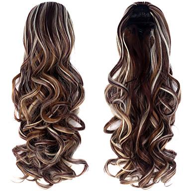 Mikroring Haar-Verlängerung Locken Pferdeschwanz Synthetik Haarstück Haar-Verlängerung #DB2 # 280 #Schokolade #copper braun #dunkelbraun