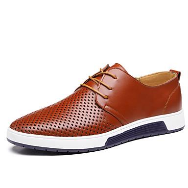 Homens sapatos Couro Verão Conforto Oxfords Caminhada Cadarço para Casual Preto Marron Azul