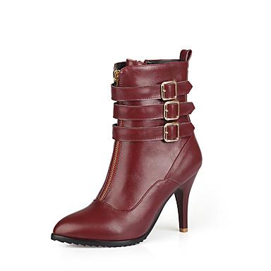 Feminino Sapatos Courino Inverno Primavera Outono Botas da Moda Botas Salto Agulha Botas Curtas / Ankle para Casual Preto Vinho