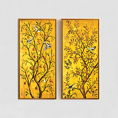 מצויר ביד פרחוני/בוטני ציורי שמן,מודרני שני פנלים בד ציור שמן צבוע-Hang For קישוט הבית