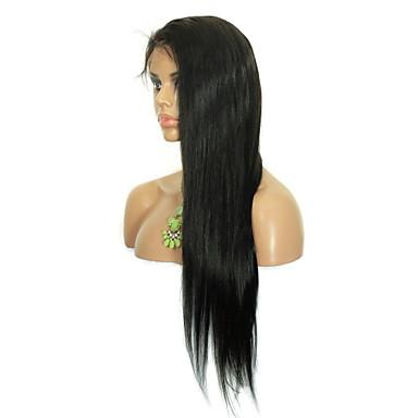 billige Blondeparykker med menneskehår-Ekte hår Blonde Forside Parykk stil Brasiliansk hår Rett Parykk Dame Kort Medium Lengde Lang Blondeparykker med menneskehår CARA